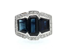 Art Deco three stone sapphire and diamond cluster ring