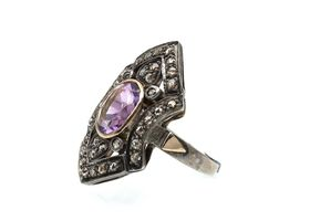 Antique amethyst and rose cut diamond shield ring in silver and gold