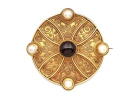 Etruscan revival garnet and pearl locket brooch in yellow gold