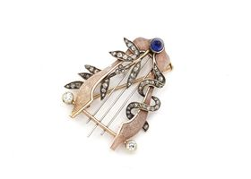 Antique 15kt gold Russian lyre brooch set with diamonds and sapphire