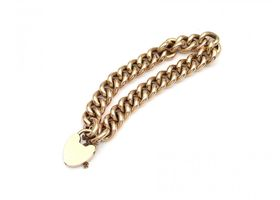 Antique 15kt rose gold hollow curb link bracelet with heart clasp