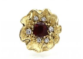 De Vroomen 1974 ruby and diamond flower ring in 18kt gold