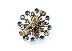 Convertible antique turquoise and diamond snowflake brooch/pendant