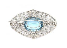 Belle Epoque aquamarine and diamond openwork brooch