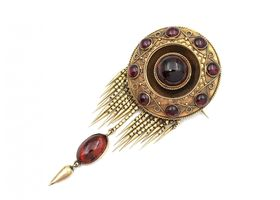 Victorian garnet carbuncle tassel brooch with hidden locket