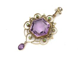 Arts and crafts amethyst and demantoid garnet pendant by Murrle Bennett