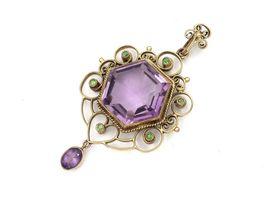 Arts and crafts amethyst and demantoid garnet pendant by Murrle Bennett