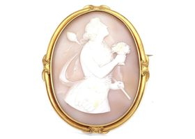 Antique shell cameo depicting Greek Goddess Hera in gold