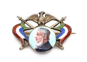 Commemorative South African brooch with medallion of President Kruger
