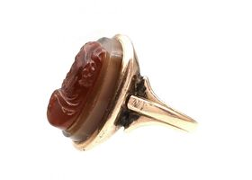 Antique sardonyx cameo of a bearded hooded man in rose gold