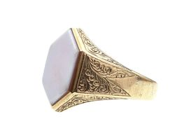 Antique hexagonal sardonyx signet ring in yellow gold