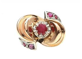 1940s 18kt rose gold ruby set modernist cocktail ring