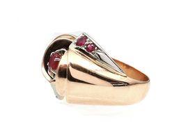 1940s 18kt rose gold ruby set modernist cocktail ring