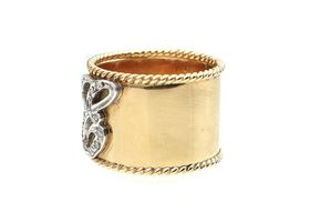 Antique 18kt yellow gold and platinum diamond set 'E' ring