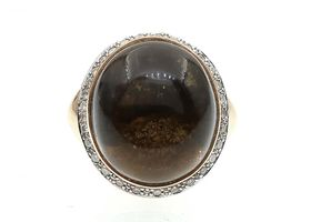 Vintage oval cabochon quartz and diamond dress ring in rose gold