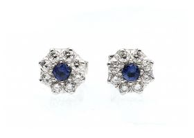 Vintage sapphire and diamond cluster earrings in 18kt white gold