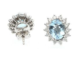 Vintage oval aquamarine and diamond coronet cluster earrings