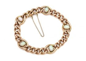 Antique 9kt rose gold and opal curb bracelet with safety chain