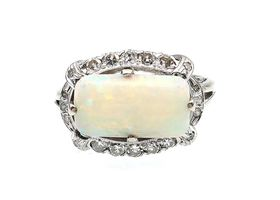 Vintage lozenge white opal and diamond cluster ring