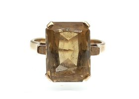 Vintage rectangular mixed cut citrine dress ring in yellow gold