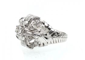 1950s fancy diamond cluster ring with leaf motifs in platinum