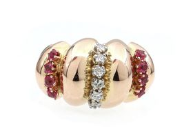 1940s diamond and ruby twisted cocktail ring in gold