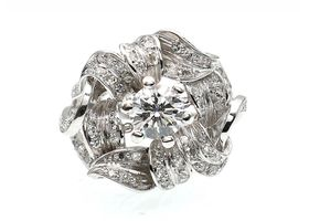 Platinum 1950s diamond fancy flower cluster ring