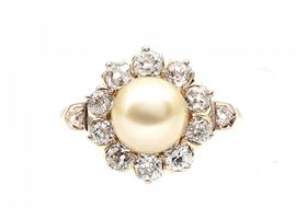 Victorian natural pearl and diamond coronet cluster ring
