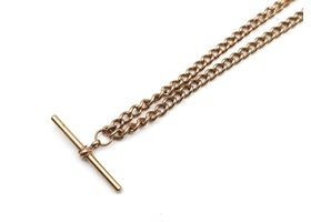Antique 9kt rose gold curb link Albert chain