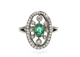 Edwardian emerald and diamond open oval cluster ring