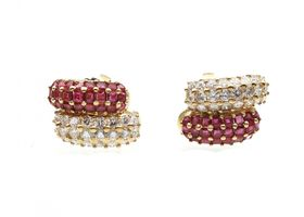Invisible set ruby and diamond cluster earrings in 18kt yellow gold