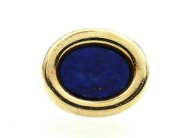 Retro lapis lazuli ribbed cocktail ring in 18kt yellow gold