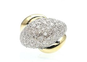 Retro diamond bombe cluster ring in 18kt yellow gold