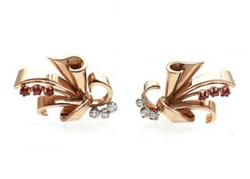 1940s 18kt rose gold, ruby and diamond clip earrings