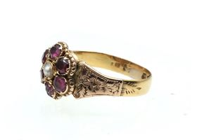 Victorian garnet and pearl floral cluster ring