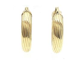 Vintage 18kt yellow gold large ribbed hoop earrings