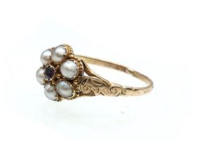 Antique garnet and natural pearl flower cluster ring in gold