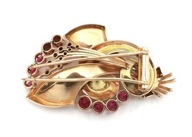 1940s synthetic ruby and diamond brooch in 18kt rose and yellow gold
