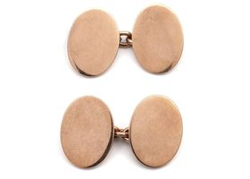 Heavy oval polished 9kt rose gold cufflinks