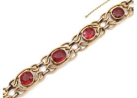Antique synthetic ruby and 15kt yellow gold bracelet