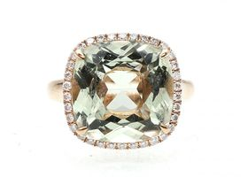 Sage green quartz and diamond dress ring 18kt rose gold