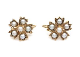 Antique floral drop earrings with natural pearls