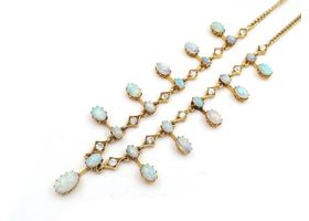Victorian precious opal and diamond spray necklace