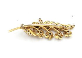 Retro 18kt yellow gold and diamond flower sprig brooch