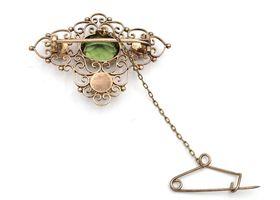 Antique 9kt yellow gold green paste openwork brooch