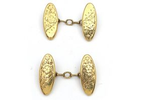 Antique marquise shield cufflinks in 9kt yellow gold