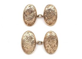 Antique hollow 9kt rose gold double oval cufflinks