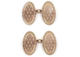1924 oval engine turned cufflinks in 9kt rose gold