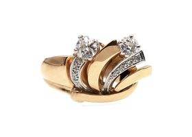 Retro 18kt yellow gold and diamond fan ring