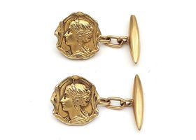 Art Nouveau whimsical woman cufflinks in 18kt gold